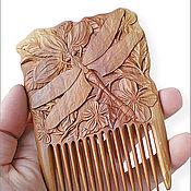 """Сувениры и подарки ручной работы. Ярмарка Мастеров - ручная работа Гребень для волос деревянный """"Odonata"""". Handmade."""