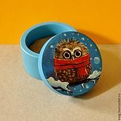 """Для дома и интерьера handmade. Livemaster - original item Round box """"Winter owl"""". Handmade."""