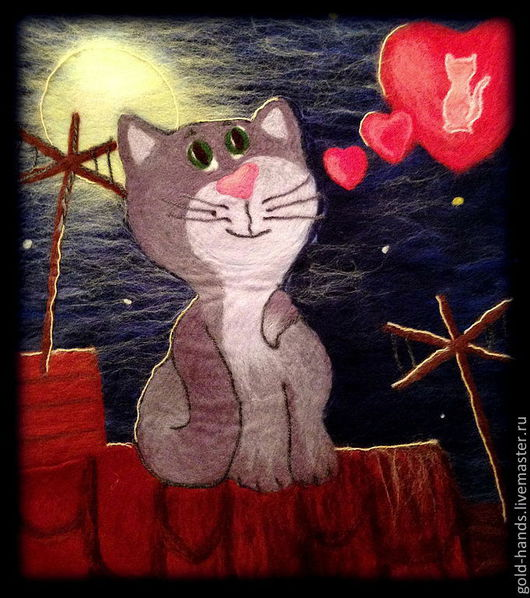 """Животные ручной работы. Ярмарка Мастеров - ручная работа. Купить Картина валяная """"Романтичный котик"""".. Handmade. Картина, картина для интерьера"""