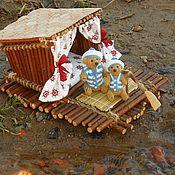 Куклы и игрушки ручной работы. Ярмарка Мастеров - ручная работа 2 медведя  моряка и дом плот. Миниатюрные мишки тедди. Handmade.