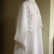 Блузки ручной работы. Ярмарка Мастеров - ручная работа Рубашка 1006 лён ришилье. Handmade.