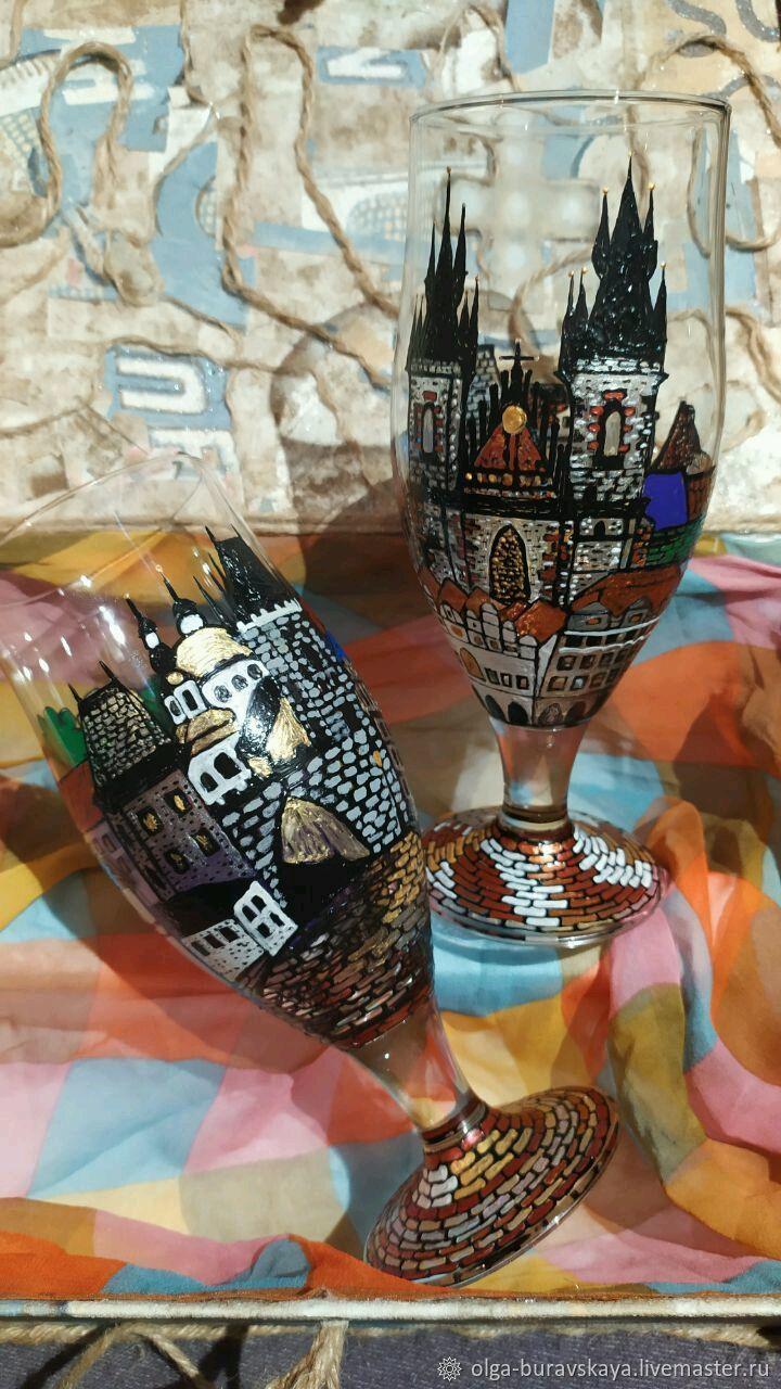 """Бокалы для пива на ножке """" Города Европы-Прага"""", Бокалы, Москва,  Фото №1"""