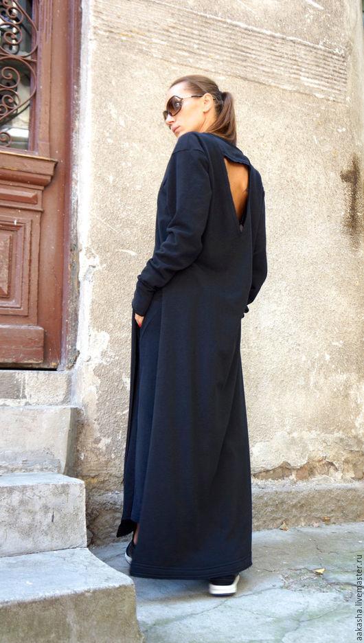 Платье в пол длинный кардиган стильное платье в пол модная одежда черное платье гранж