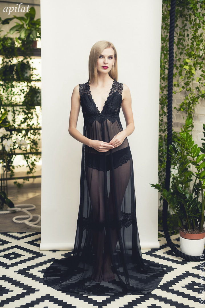 Long Black Tulle Bridal Nightgown With Lace F11 Lingerie