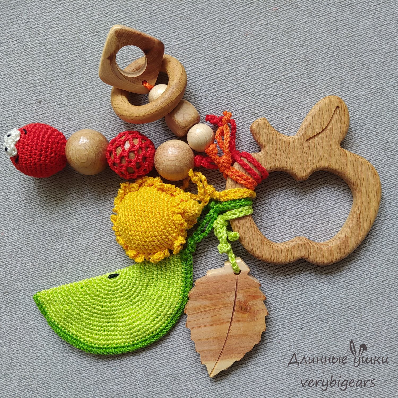 Beech teething toy Apple with pendants, Teethers and rattles, Penza,  Фото №1