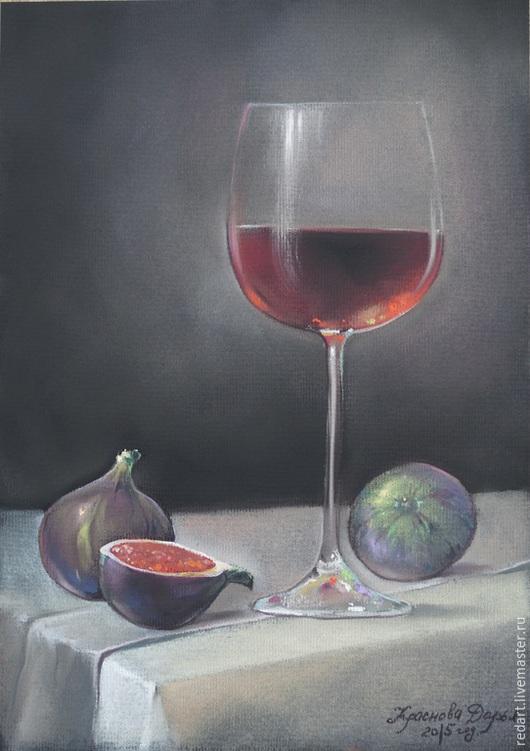 Натюрморт ручной работы. Ярмарка Мастеров - ручная работа. Купить Аперитив. Handmade. Серый, вино, Бокалы, инжир, натюрморт с фруктами