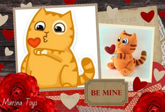 Обучающие материалы ручной работы. Ярмарка Мастеров - ручная работа. Купить МК по вязанию стикера кот Персик с сердечком. Handmade.