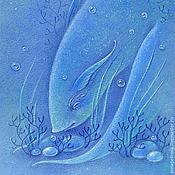 Картины и панно ручной работы. Ярмарка Мастеров - ручная работа Сокровища. Картина в морском стиле. Пастель. Синее море.. Handmade.