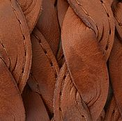 """Материалы для творчества ручной работы. Ярмарка Мастеров - ручная работа Кожаный шнур, """"косичка"""", плоский 14х2.5мм, рыжий. Испания. Handmade."""