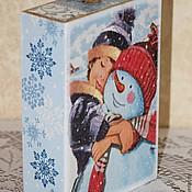 """Для дома и интерьера ручной работы. Ярмарка Мастеров - ручная работа """"Мой снежный друг"""" короб-пенал.. Handmade."""