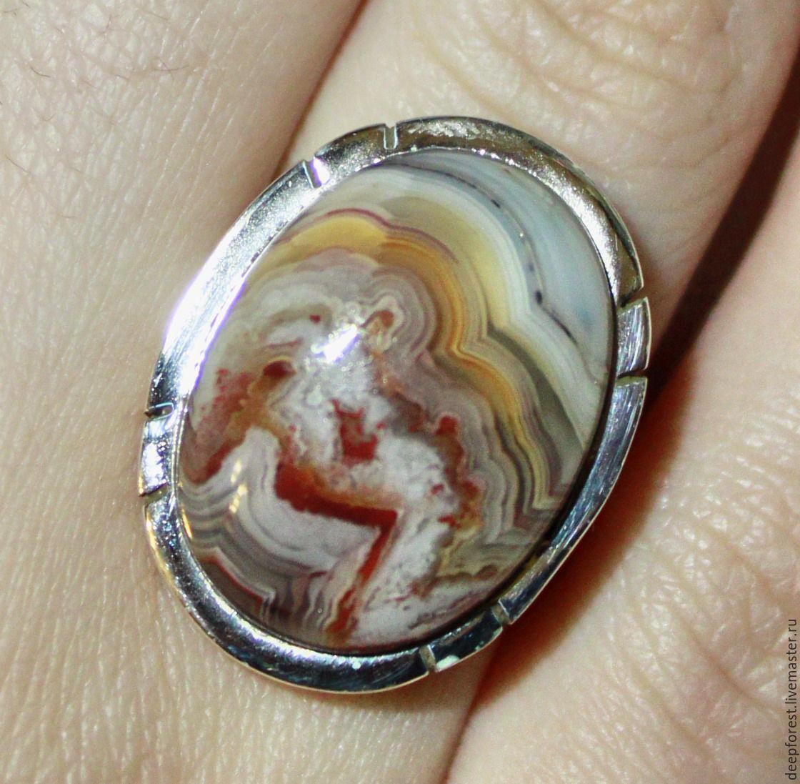 Кольцо агат натуральный в серебре, Кольца, Москва, Фото №1