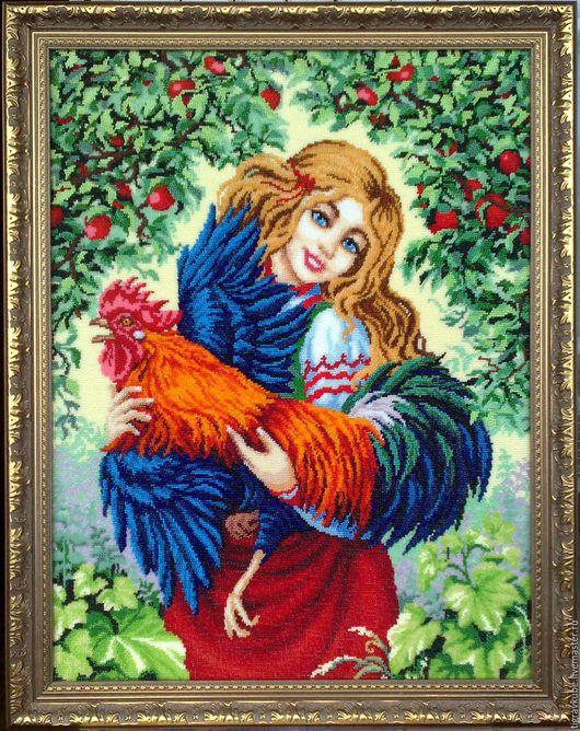 """Люди, ручной работы. Ярмарка Мастеров - ручная работа. Купить Картина бисером """"Катюша и петух"""". Handmade. Комбинированный, ручная, петух"""