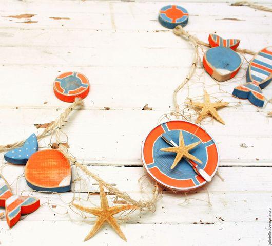 Часы для дома ручной работы. Ярмарка Мастеров - ручная работа. Купить Настенные часы Морская Звезда. Handmade. Оранжевый, новоселье