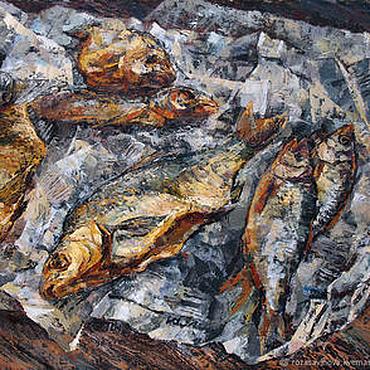 Картины и панно ручной работы. Ярмарка Мастеров - ручная работа Картина маслом Натюрморт с сушеной рыбой. Handmade.