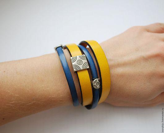 Браслеты ручной работы. Ярмарка Мастеров - ручная работа. Купить Кожаный браслет намотка, желто-синий. Handmade. Комбинированный