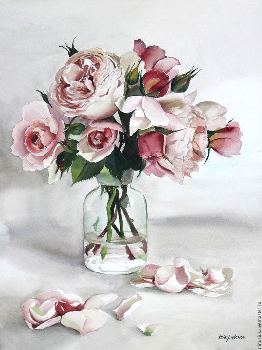 Картины цветов ручной работы. Ярмарка Мастеров - ручная работа. Купить Букет роз. Handmade. Розовый, роза, цветы