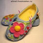 """Обувь ручной работы. Ярмарка Мастеров - ручная работа Валяные тапочки """"Милый букет"""" (женские). Handmade."""