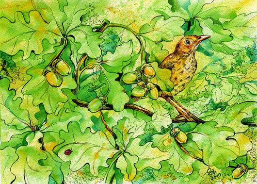 """Животные ручной работы. Ярмарка Мастеров - ручная работа. Купить Картина """"Август"""". Handmade. Август, певчая птица, желуди, зелень"""