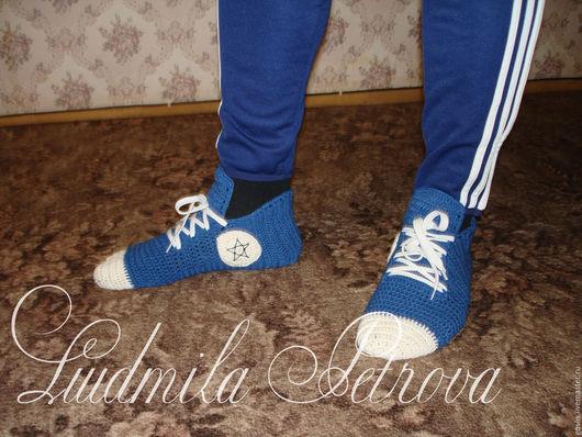 """Носки, Чулки ручной работы. Ярмарка Мастеров - ручная работа. Купить Вязаные носки-кеды """"Любимым мужчинам"""" - конверсы. Handmade."""