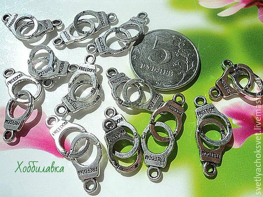 Подвески наручники Античное серебро размер 28* 10 мм
