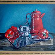 """Картины ручной работы. Ярмарка Мастеров - ручная работа Картина маслом, натюрморт. """"Красные перцы"""". Handmade."""