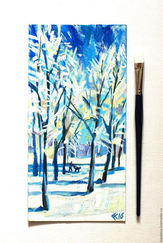 Картина масло пейзаж зима На деревьях иней Картина зимний пейзаж масло Купить картину маслом Картина русская зима