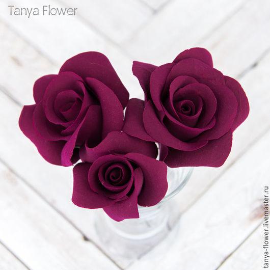 Свадебные украшения ручной работы. Ярмарка Мастеров - ручная работа. Купить Набор шпилек с розами - Марсала (3 шт). Handmade.
