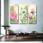Картины и панно handmade. Livemaster - original item Modular painting Flowers (peony, white poppy, iris). Handmade.