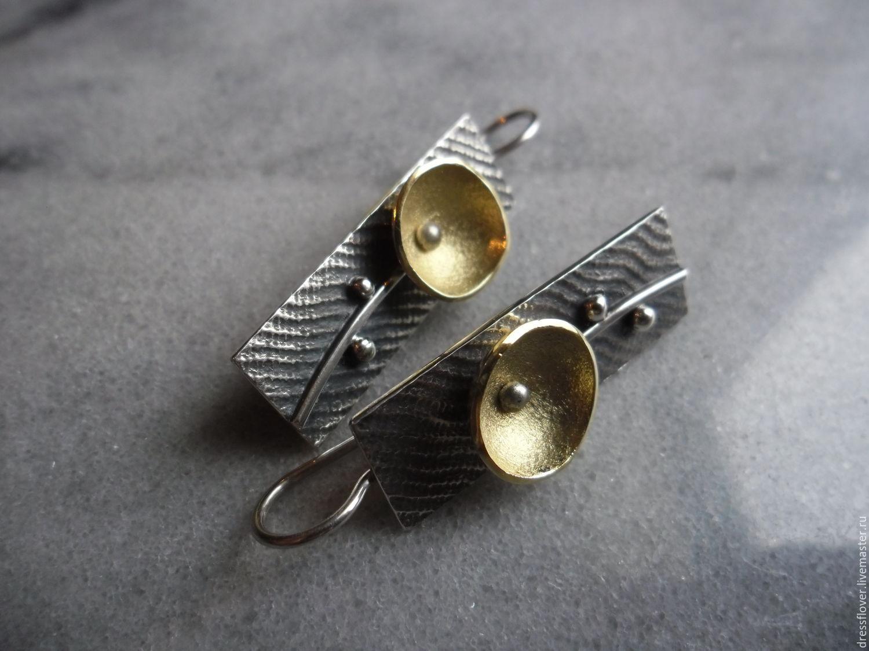 Серьги серебряные Цветок минимализма, авторское серебро, Серьги классические, Тольятти,  Фото №1