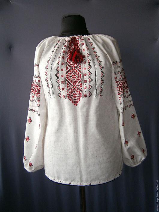 Блузки ручной работы. Ярмарка Мастеров - ручная работа. Купить Блуза-вышиванка из льна Украиночка готовая и на заказ. Handmade. Серый