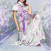 Одежда ручной работы. Ярмарка Мастеров - ручная работа шифоновое платье сиреневый сад. Handmade.