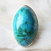 Кольцо серебряное с хризоколлой овальное