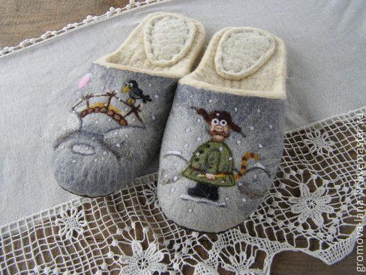 """Обувь ручной работы. Ярмарка Мастеров - ручная работа. Купить Тапочки  валяные, из овечьей шерсти """"Падал прошлогодний снег"""". Handmade."""