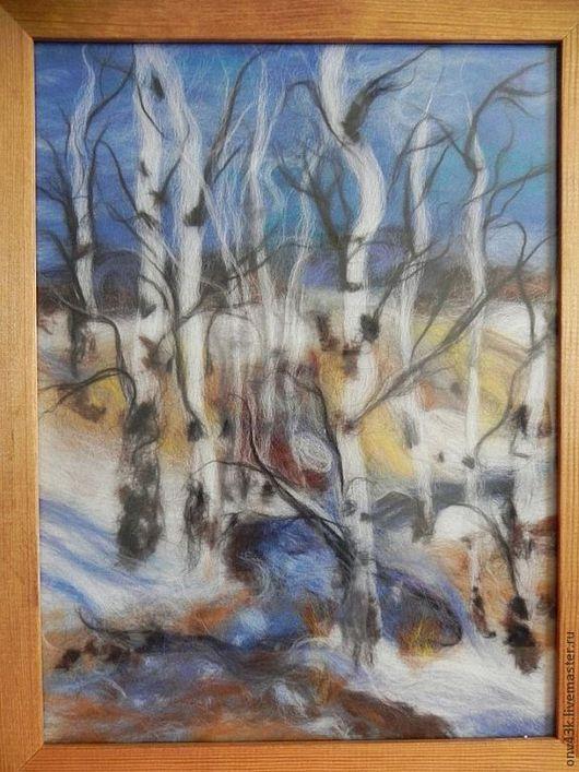 """Пейзаж ручной работы. Ярмарка Мастеров - ручная работа. Купить Картина """"Берёзовая роща"""". Handmade. Картина из шерсти, весна, пейзаж"""