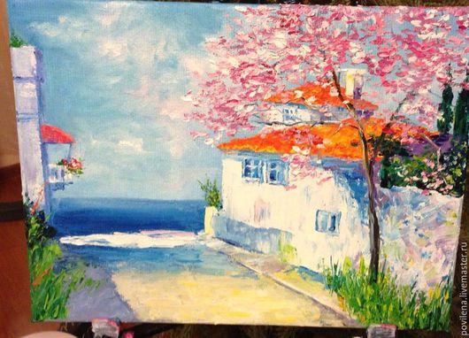 Пейзаж ручной работы. Ярмарка Мастеров - ручная работа. Купить картина Дорога к морю. Handmade. Разноцветный, море, улочка