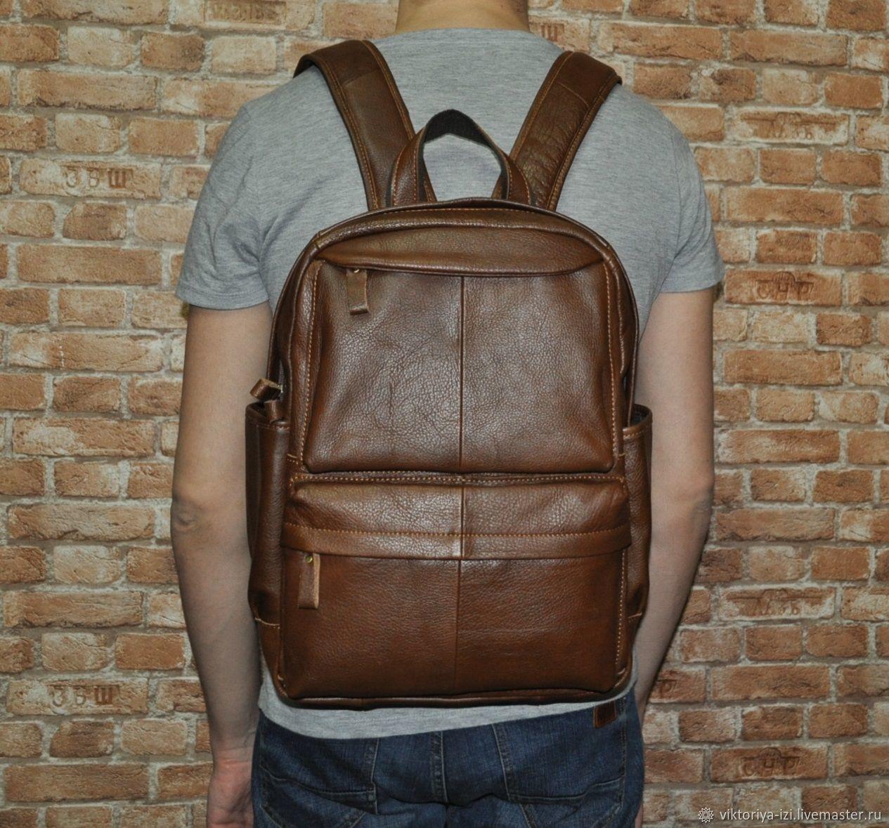 Рюкзак мужской кожаный коричневый, Рюкзаки, Москва,  Фото №1