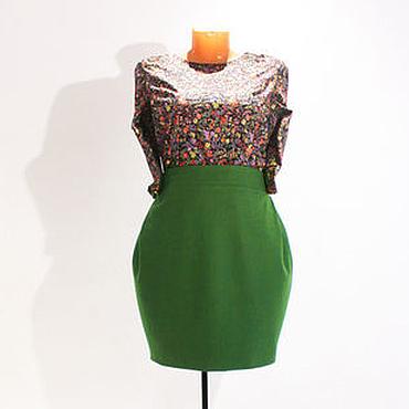 Одежда ручной работы. Ярмарка Мастеров - ручная работа Зеленая юбка тюльпан из шерсти. Handmade.