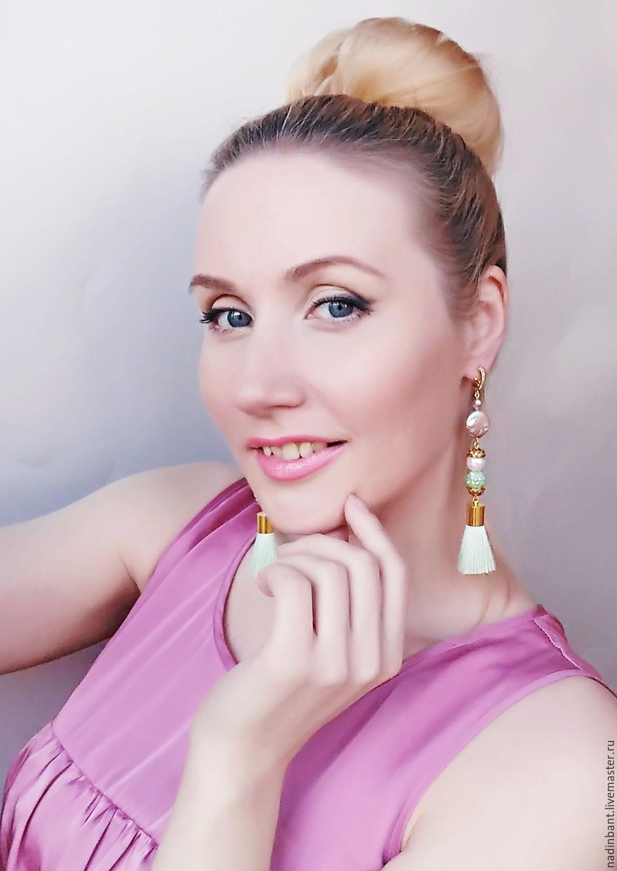 Earrings brush 'Mint' Baroque pearls, silk, Tassel earrings, St. Petersburg,  Фото №1