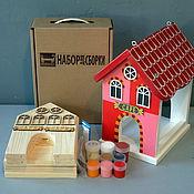 Для дома и интерьера ручной работы. Ярмарка Мастеров - ручная работа Кормушка для птиц EUROPE-RED (набор-конструктор с красками). Handmade.