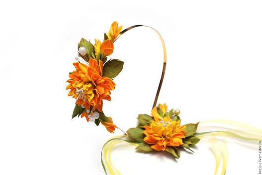 Диадемы, обручи ручной работы. Ярмарка Мастеров - ручная работа. Купить Ободок и повязка с цветами из фоамирана. Handmade. Оранжевый