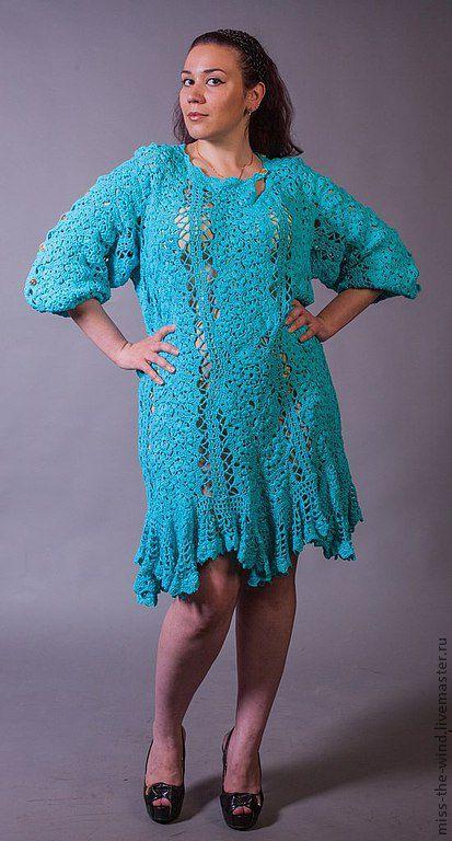 """Платья ручной работы. Ярмарка Мастеров - ручная работа. Купить авторское платье """"Пленительная бирюза"""". Handmade. Голубой, платье вязаное"""