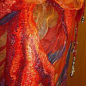 Аксессуары ручной работы. Ярмарка Мастеров - ручная работа Валяный шарф Мировое древо.Огонь. Handmade.