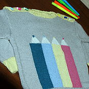 """Работы для детей, ручной работы. Ярмарка Мастеров - ручная работа свитер для малыша """"Малыши-карандаши"""" из детской альпаки. Handmade."""