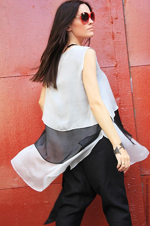 18db455fddd ... R00015 Летняя блузка шифоновая туника туника из шифона белая блузка  летняя туника шифон свободный стиль шифоновый
