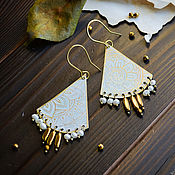 Украшения handmade. Livemaster - original item Oriental hematite earrings - Boho pearl earrings White Gold. Handmade.