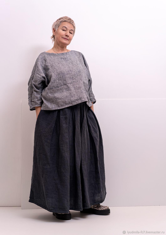 1)Льняная блузка свободный покрой 2)Льняная юбка макси(на заказ), Блузки, Москва,  Фото №1