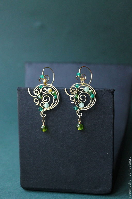 Earrings Backwater Undine (mini-version), Earrings handmade, St. Petersburg, Фото №1
