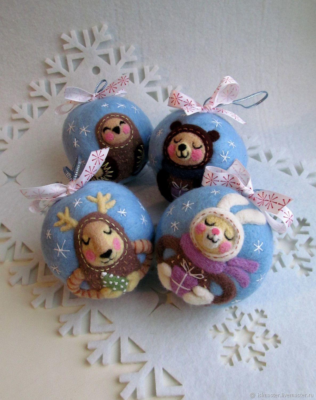 """Набор новогодних шаров из шерсти """"Волшебная ночь"""", Украшения, Сегежа, Фото №1"""