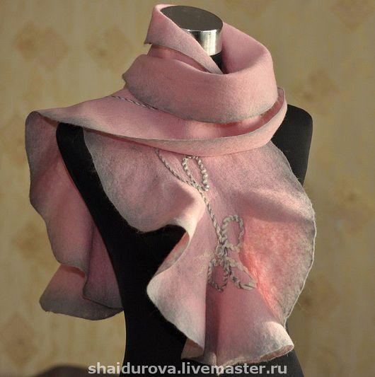 """Шарфы и шарфики ручной работы. Ярмарка Мастеров - ручная работа. Купить Шарф """"Розовая дымка"""". Handmade. Валяный шарф"""