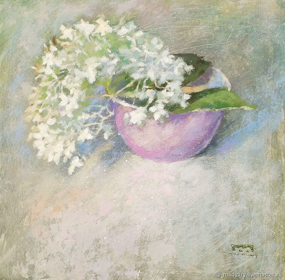Still life with pink bowl and flowers (beige, white, milk), Pictures, Smolensk,  Фото №1